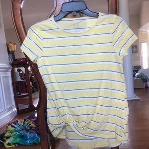 YELLOW/BLUE/WHITE STRIPED KNOTTED SHIRT